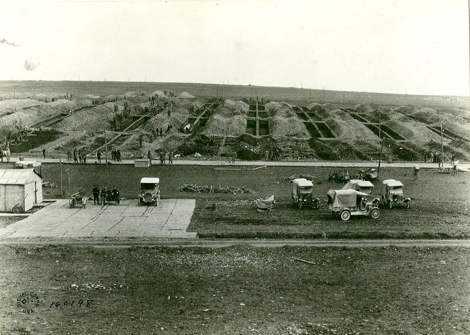 """American cemetery under construction """"Romagne sous Montfaucon"""""""